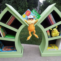 Whimsical Curvy Dr Seuss/ Alice In Wonderland Children's Curved Bookshelf Set