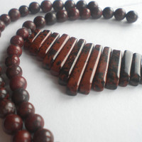 Red and Black Jasper Dagger and Round Beads Set by PhreshSuppliez