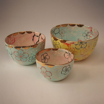 Handmade Ceramic Nested Mixing Bowl set of 3 in Lotus Garden
