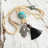 Long Hamsa Tassel Necklace, Off-White Wood Beads, Hand of Fatima, Turquoise Howlite Nugget