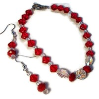 Bracelet and Earrings Set Red Diamond shape Gift $36.