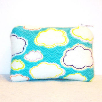 "Fluffy Cute Clouds Print Flannel Padded Pipe Pouch 4"" / Glass Pipe Case / Spoon Cozy / Piece Protector / Pipe Bag / MINI"