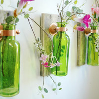 Colored Glass Bottle Trio Wall Decor each mounted on Recycled wood for unique rustic decor for bedroom decor kitchen decor