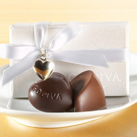 White Chocolate Favor with White Ribbon and Silver Heart Charm (2 pc.) at Godiva.com