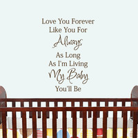 Wall Words Decal Quote I'll Love you Forever by HouseHoldWords