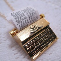 Typewriter Necklace 18K Gold Plated Brass by CuteAbility on Etsy