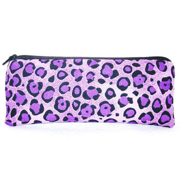 "Purple Cheetah Print Cotton Padded Pipe Pouch 7.5"" / Glass Pipe Case / Spoon Cozy / Piece Protector / Pipe Bag / LARGE"