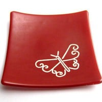 Red Glass Jewelry Plate with White Butterfly Soap by mysassyglass