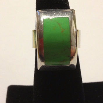 Taxco Gaspeite Ring Size 6 Sterling Silver Green RARE Stamped 925 Mexico 11.9 Grams Vintage Jewelry Southwestern Tribal Gift Mexican 60s
