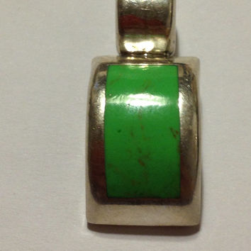 Taxco Gaspeite Pendant Slide Sterling Silver Green RARE Stamped 925 Mexico 7.7 Grams Vintage Jewelry Southwestern Tribal Gift Mexican 60s