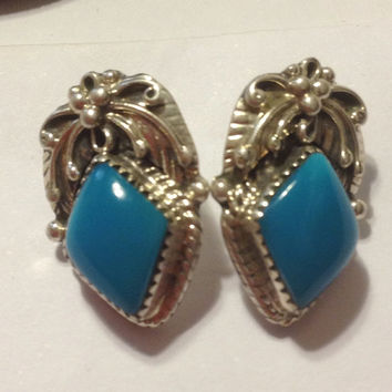 Sleeping Beauty Turquoise Earrings Navajo Sterling Silver Patrick Wiletto PW 925 Blue Vintage Native American Tribal Southwestern Jewelry