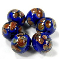 Cobalt Medium Lapis Blue Handmade Lampwork Glass Beads Raku Frit Shiny
