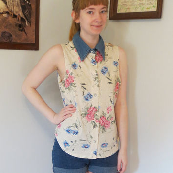 90S Floral Blouse Denim Collar