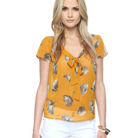 Tulip Print Button Back Top | LOVE21 - 2000037635