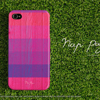 Apple iphone case for iphone iphone 5 iphone 5s iphone 5c iphone 4 iphone 4s  : pink and violet stripe pattern wood (not real wood)