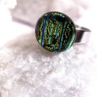 Silver Aquarium Ring  Blue Green Aqua  by FashionCrashJewelry