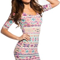 Global Girl Multi-Color Abstract Half-Sleeve Dress