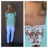 Mint Sneak A Peak Of Lace Blouse
