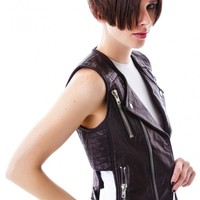 Harley Leather Zipper Cutout Vest
