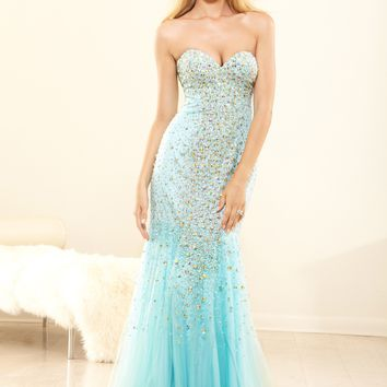 Terani P3116 Beaded Strapless Gown