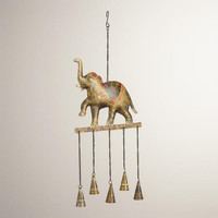 Metal Elephant with Bells Wind Chime - World Market