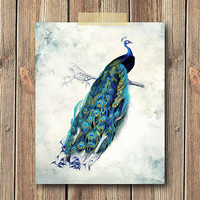 Peacock Bird Art Print, 8x10 Print, Wall art, Home decor, Watercolor, Blue, Teal, Vintage art print