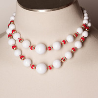 Vintage Double Strand White and Red Bead Necklace