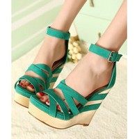 Wholesale Japan style cross strap fish mouth wedges SY-C0698 green - Lovely Fashion
