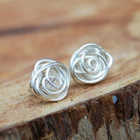 Wire Wrapped Silver Plated  Rose Bud Post by Karismabykarajewelry