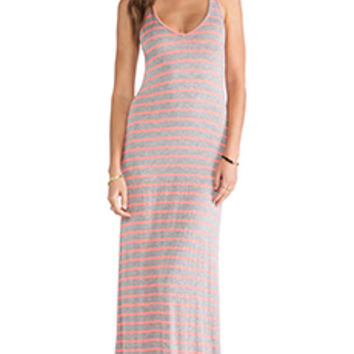 Feel the Piece Striped V Maxi Dress in Gray