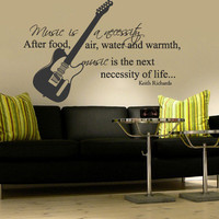 Wall Decal Vinyl Sticker Decals Art Decor Design Guitar Electro Music Sign Music is necessity Band Rock Star Mans Gift Bedroom Dorm (r752)