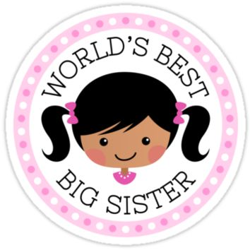 World's best big sister round sticker, cartoon girl with dark skin and black hair