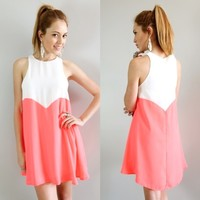 WHITE NEON CORAL LOVE HEART COLOUR BLOCKED SWING SHIFT DRESS S M L 6 8 10 12