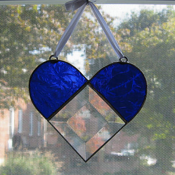 Heart Stained Glass Suncatcher -- Etched Blue and Bevel