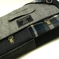 "Mens 15"" laptop Messenger Bag , 15""  Macbook Pro Laptop Sleeve, tote bag, Trunk Latch,Recycled Suit Coat"
