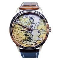 Game of Thrones Watch, Mens Brown Genuine Leather Watch, Westeros Map Watch