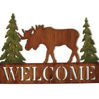 Welcome Sign rustic moose cabin sign, lodge decor, wall hanging hand painted wood in browns and green pine trees