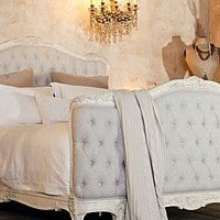 Eloquence Sophia Upholstered Tufted Bed Old Cream