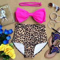 Pink Bow Leopard Bandeau Highwaist Retro Highwaist Swimsuit Swimwear Bikini