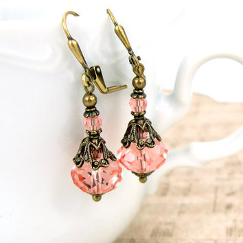 Rose Peach Victorian Earrings - Swarovski Crystal Rondelle Earrings - Peach and Bronze Neo Victorian Vintage Style Earrings - Brass Filigree
