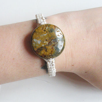 White Hemp Bracelet with Large Ocean Jasper Bead, ready to ship.