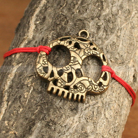 Adjustable vintage style skull bracelet antique bronze by mosnos