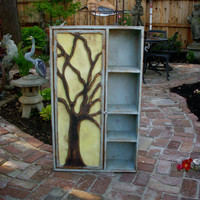 Rustic Furniture Wood Shelf Oak Tree Cabinet by honeystreasures
