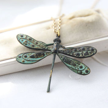 Verdigris dragonfly necklace. Patina necklace. Dragonfly choker. Gold chain dragonfly