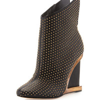 Wane Studded Wedge Boot, Black