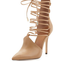 Anni Lace-Up Pointy-Toe Pump, Almond