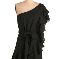 Black Ruffle Oil Dress | Mod Retro Vintage Dresses | ModCloth.com