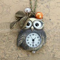Vintage pocket watch owl necklace with antique bronze by mosnos