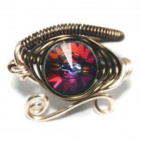 Egyptian Wire Ring - Eye of Horus - Volcano Swarovski Crystal | PrimevalSands - Jewelry on ArtFire