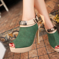Wholesale 2012 feet to show thin fashion joker high heel sandals Z-FF-F42 green - Lovely Fashion